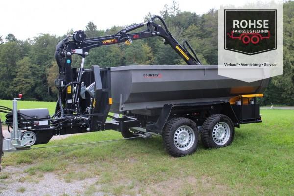Pkw- Rückeanhänger Kipper mit Kran R35-470